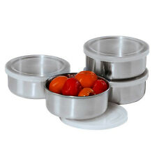 Set of 4 Oggi Stainless Steel Prep Bowls Clear Plastic Lids 10oz Food Containers