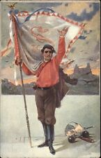 Fencing Champion Holding Flag CZECH? c1910 Postcard