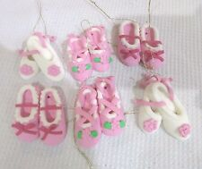 (6) Christmas Mini Ballerina Pink White Shoes Ornaments