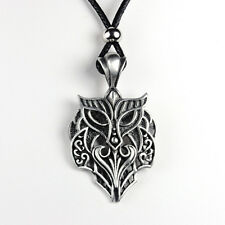 Antique Style Owl Pendant With Black Cord Pewter Pendant Mens Womens Metal