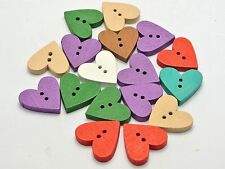100 Mixed Color Lover Heart 2 Holes Wood Sewing Buttons Flatbacks 18X20mm