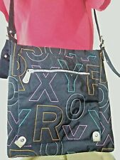 Roxy Limited Edition A452G59 Crossbody Bag Nylon Black Multi Color Stitched Ltrs