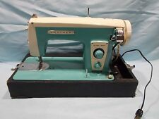 VINTAGE MID CENTURY TURQUOISE BROTHER SEWING MACHINE MADE IN JAPAN
