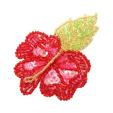 ID 9112 Red Hibiscus Flower Petals Plant Floral Beaded Iron On Applique Patch