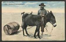 Mexico Postcard Hauling Water Seller Costumes & Donkey L@@K
