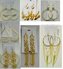 Fashion Jewelry lots 5 pairs  Big Dangle Gold Plated  Earrings wholesale lot #2