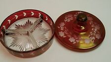 Vintage Etched Cranberry Glass Partitioned Lidded Candy Dish