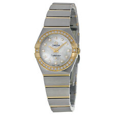 Omega Constellation White Mother-of-Pearl Diamond Dial Stainless Steel Ladies