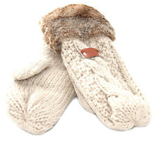 Aran Traditions Womens Ladies Winter Warm Faux Fur Oatmeal White Mittens