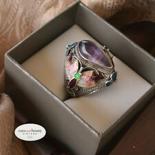 *Vintage WOW BIG Chinese Enamel Butterfly AMETHYST Silver Ring SIZE 7