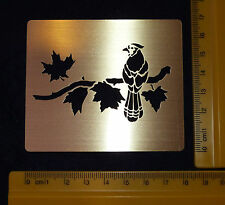 Brass/metal/stencil / oblong/leaf/leaves / bird/roosting/emboss / Nuevo
