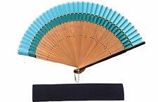 HIGH QUALITY Deep Sky Blue Silk Border Bamboo Ribs Hand Fan with Pouch HQF28