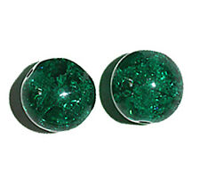 Emerald Crackle Czech Pressed Glass Beads 14mm (pack of 2)