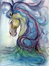 CUBAN ART #007**CABALLO AZUL BY OSAY**SIGNED ON CANVAS 22 X 30""