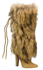 JIMMY CHOO DICEY TAN CALF BLONDE RACOON FUR HEELED KNEE HIGH BOOTS 37 4 £1995!