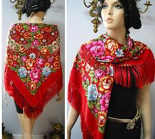 """Russian Ukrainian Gypsy Shawl Floral w/Fringes 49""""/125cm Red Woolen NWT #98f"""