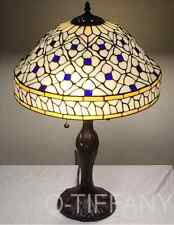 "Tiffany Style Stained Glass Lamp ""Quatrefoil"" w/ Metal Base &Tiffany Autumn Card"