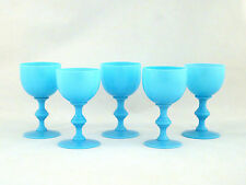 "Antique PV Portieux Vallerysthal French Blue Opaline 4 1/2""  Milk Glass Wines"