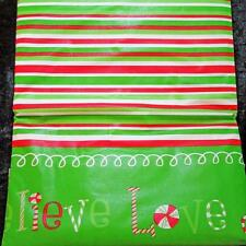CHRISTMAS CANDY CANE BORDER VINYL TABLECLOTH~Flannel Back~52x70 Oblong~NEW.