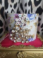 Betsey Johnson HUGE Chunky Vintage Floral Antique Blue Rose Brooch Cuff Bracelet