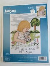 "Janlynn Counted Cross Stitch Kit  ""All You Need Is Love""  Diana Thomas 5x7 NOS"