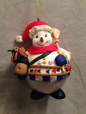 "SNOWMAN Collectible Glass Ornament Resin Christmas Holiday Traditions 5"" Broom"