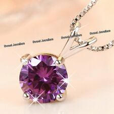 BLACK FRIDAY SALE - 925 Silver Purple Crystal Diamond Necklace Women Xmas Gifts