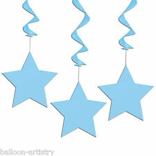 3 Light Baby Pastel BLUE STAR Party Birthday Party Hanging Swirls Decorations