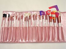 18 pcs Goat Hair MakeUp Brushes, Cosmetic Brush Set - Pink Pouch White Handle