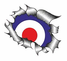 Ripped Torn Metal Look Design & MOD Style RAF Roundel Target vinyl car sticker