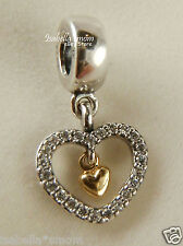 FOREVER IN MY HEART Genuine PANDORA Silver/14K GOLD/Cz VALENTINE Charm~Bead NEW