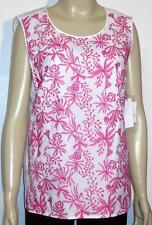 NWT Liz Claiborne Sleeveless Pullover Embroidered Lined Top Large Fuchsa / White