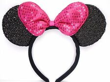 MINNIE MOUSE EARS Headband Black Sparkle Shimmer-Fuchsia Pink Sequin Bow Mickey