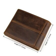 Retro Style Mens Cowhide Leather Wallet Zip Coin Bag ID Card Holder Purse Clutch