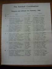 1959/1960 Football Combination: Fixtures & Officials For February 1960 (folded,