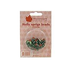 Woodware Christmas Brads - Holly Sprigs - Card Embellishments - 24 pcs