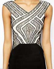 BNWOT LIPSY BLACK & WHITE BODYCON DRESS WITH NUDE/BLACK LACE DESIGN SIZE 10