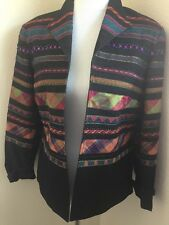 Coldwater Creek Black Denim Beaded Embroidered Open Jacket Size 8