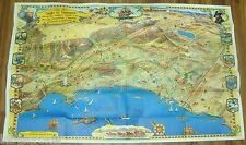 VINTAGE SOUTHERN CALIFORNIA MAP CARTOON ORIGINAL PICTORAL 1963 ROADS TO ROMANCE