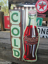 Coca-Cola advertising Drink Ice Cold Bottles Embossed COKE cool on corragated me