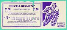 ORIGINAL 1976 LOS ANGELES KINGS DISCOUNT TICKET VOUCHER  ROGIE VACHON NHL HOCKEY
