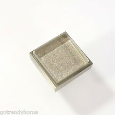 Metallic Gray Crystal Glass Cabinet Brush Nickel Knob Drawer Pull Square Modern