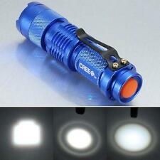 7W 1200lm CREE Q5 LED Mini Zoom Flashlight 14500/AA Torch Lamp Blue TR