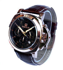 Outstanding 44mm Rose Gold Chronograph Leather Strap Naval Miltary Quartz Watch