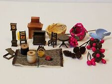 Vintage Doll House Miniature Dishes Plastic Furniture Table Chair Clock Bird Lot