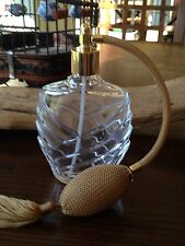 A gorgeous French crystal perfume bottle atomizer With brown Bulb And Tassel,new