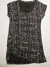 Ann Taylor Size M Black/Off White Cross Hatch Pattern Ruched Modal Top EUC