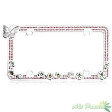 Charming Butterfly Flowers w/Pink Bling Crystals Metal Car License Plate Frame