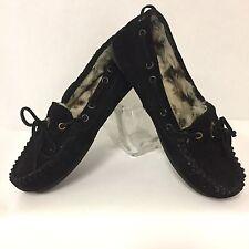Clarks Women's Black Genuine Leather Indoor/Outdoor Warm Fur-lined Slippers Sz 5