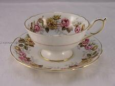 "Coalport ""Rosalinda"" teacup and saucer with pink and yellow roses"
